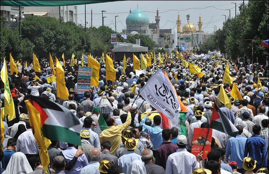 حضور جهادگران گروه جهادی افسران ولایت در راهپیمایی روز قدس در مشهد + تصاویر