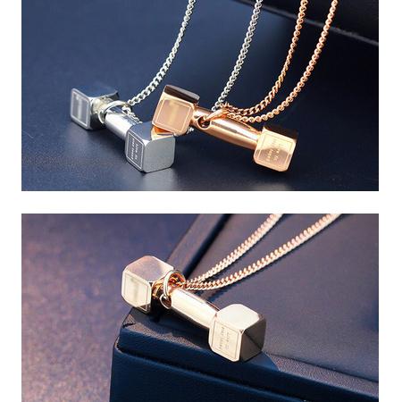 فروش گردنبند لاکچری طرح دمبل - زنجیر و پلاک استیل