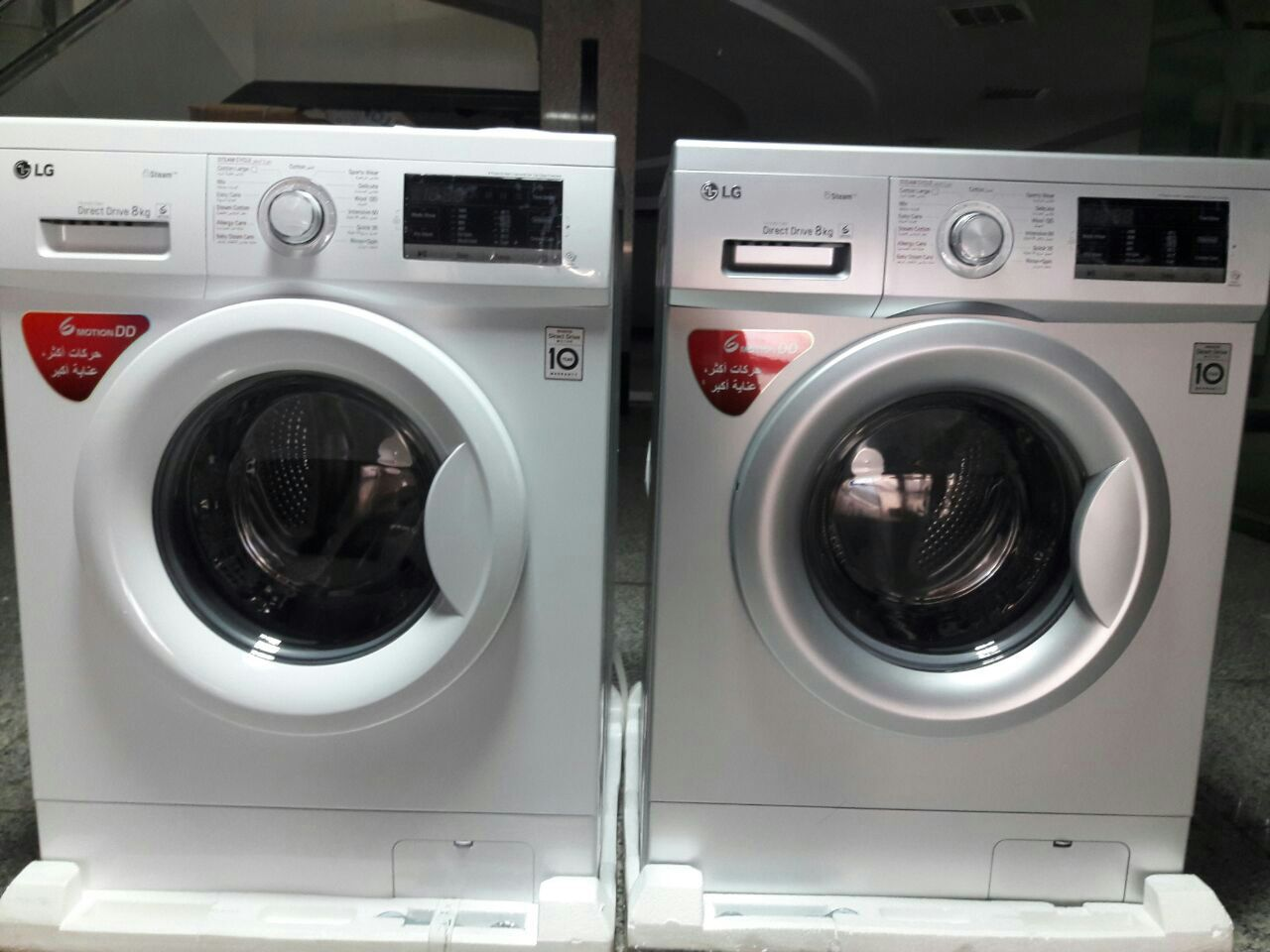 ماشین لباسشویی lg ال جی 4G7 ظرفیت ۸ کیلویی ۱۴۰۰ دور با بخارشو و برنامه متنوع شستشو