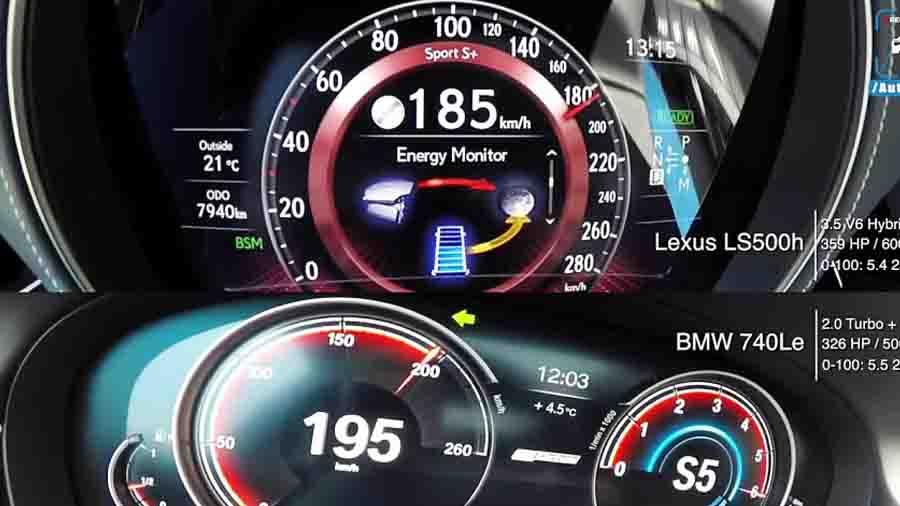 لکسوس LS500h یا بی ام و 740Le هایبرید؛ کدام سریعتر است؟