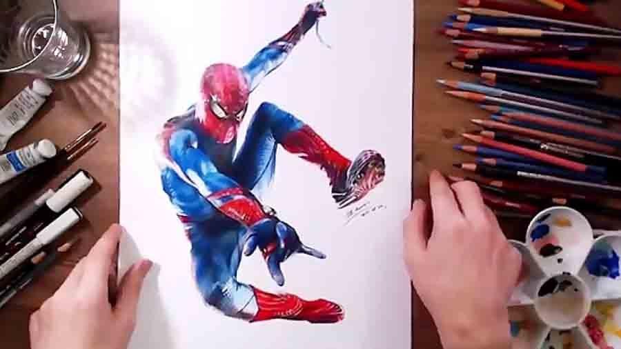 نقاشی زیبا مرد عنکبوتی شگفت انگیز 1