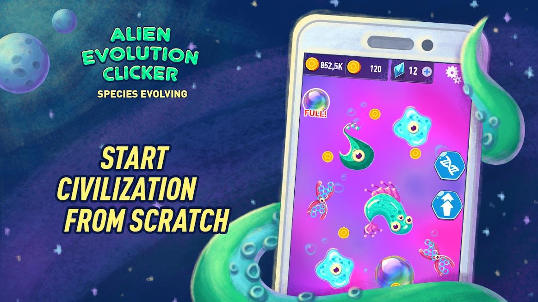 دانلود Alien Evolution Clicker: Species Evolving 1.0.6 - بازی گونه های تکامل یافته بیگانه برای اندروید
