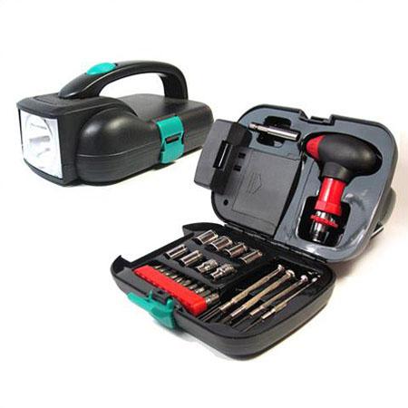 خرید جعبه ابزار چراغ قوه دار bs tools بی اس تولز با 26 قطعه پر کاربرد