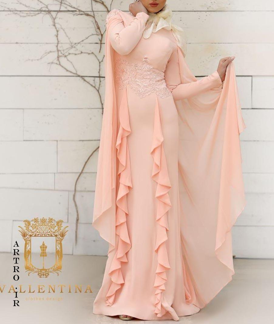 مدل لباس مجلسی بلند پوشیده حریر