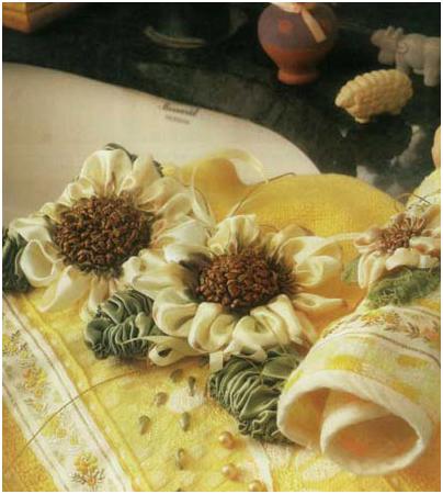 آموزش روبان دوزی گل آفتاب گردون