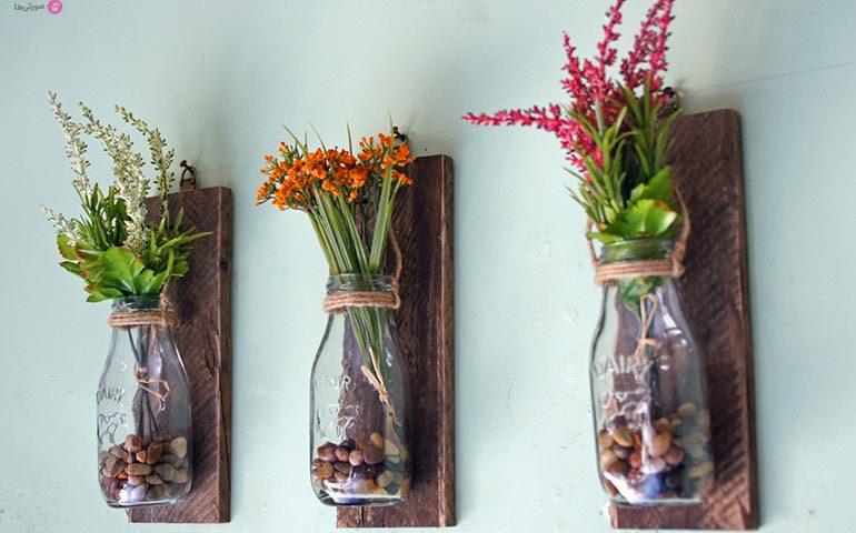 گلدان کریستال با گل