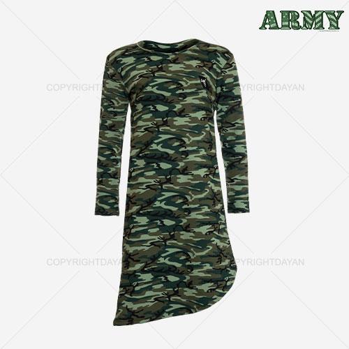 فروش تونیک ارتشی زنانه مدل L7257 - تونیک زنانه ضخیم دورس