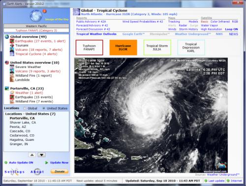 مشاهده لحظه ای حوادث و اتفاقات طبیعی کره ی زمین با نرم افزار