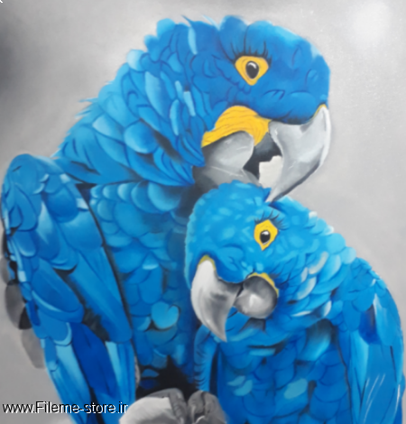 تابلو نقاشی رنگ روغن طوطی با سبک رئال