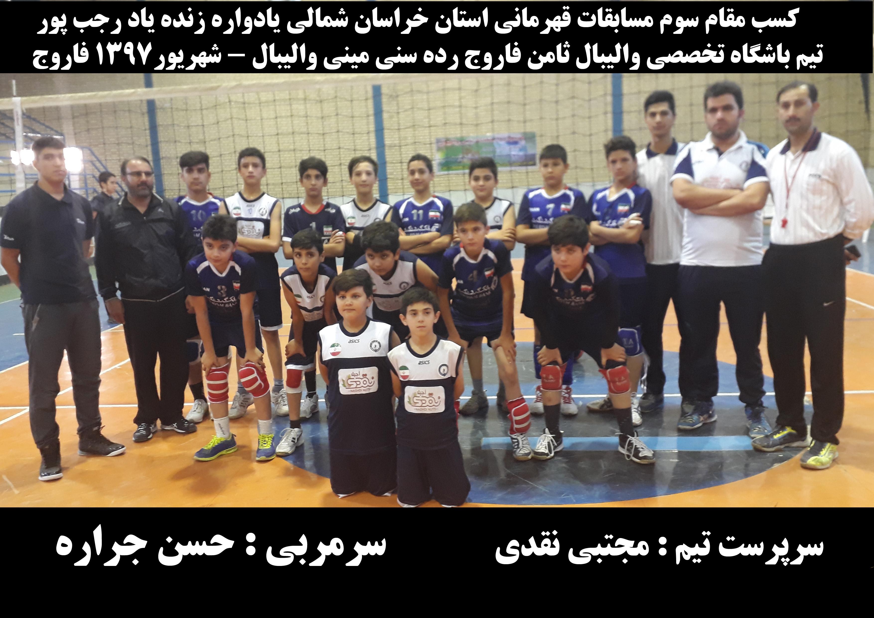 کسب مقام سوم  تیم باشگاه تخصصی والیبال ثامن فاروج در مسابقات خردسالان استان خراسان شمالی  با حضور 11 تیم