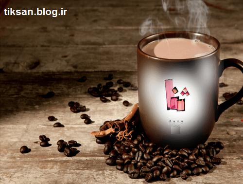 طرح اسم ثنا روی فنجان قهوه
