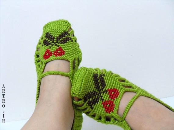آموزش کفش روفرشی بافتنی بادومیل