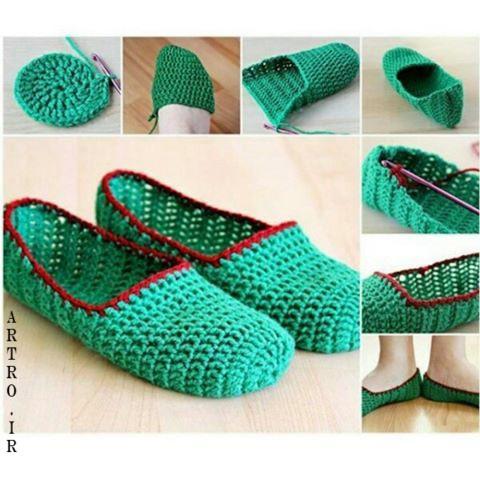 آموزش کفش بافتنی روفرشی زنانه