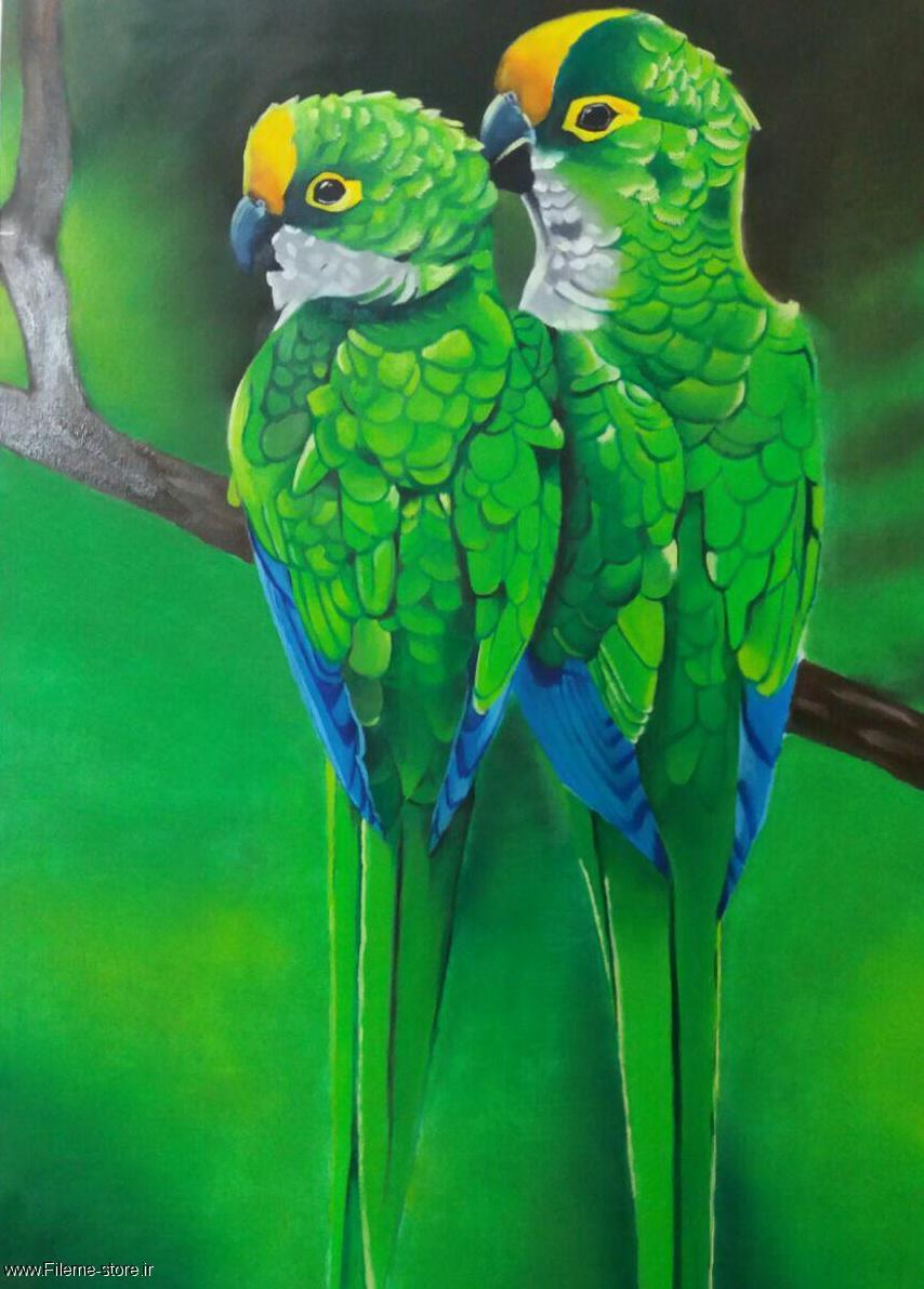 تابلوی زیبای نقاشی طوطی سبز