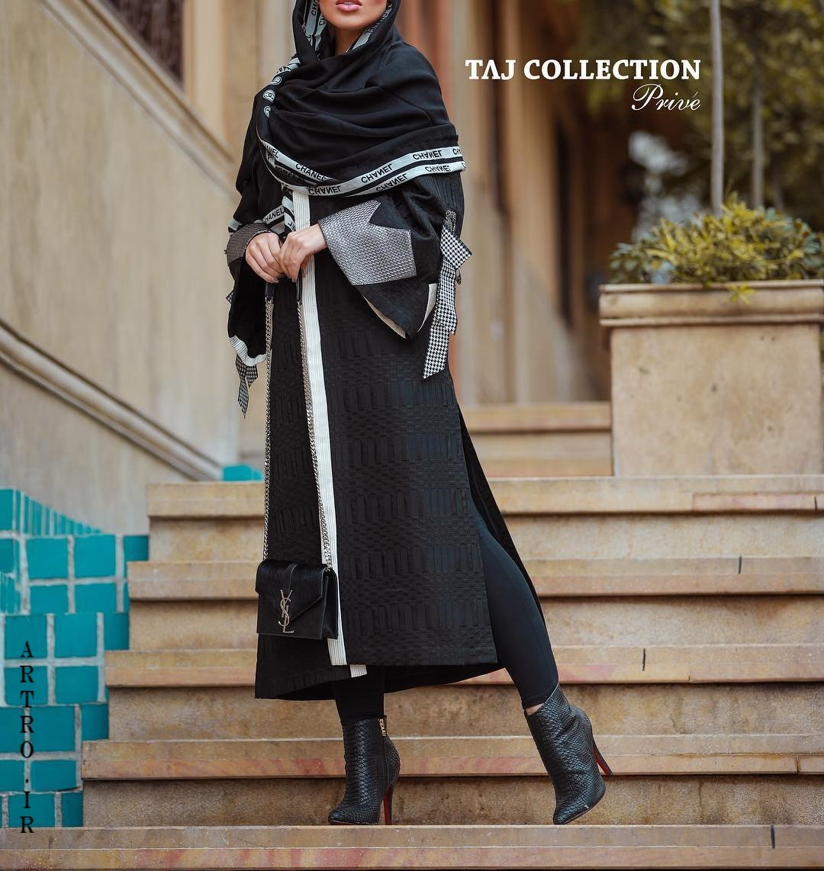 مدل مانتو سیاه بلند چاکدار زمستانی