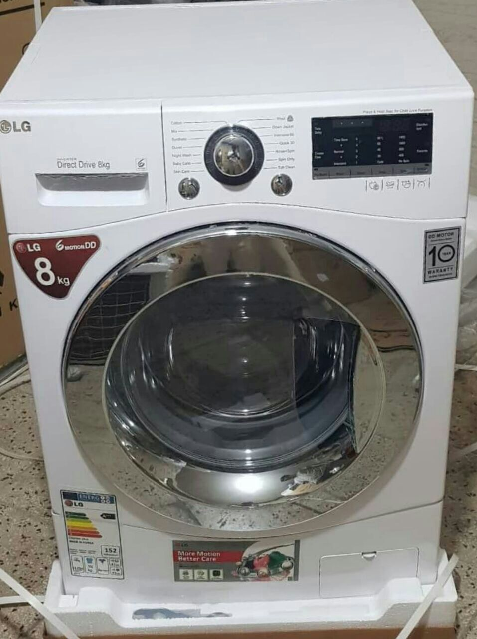 لباسشویی ال جی 8 کیلویی 1400 دور گیربکس(بدون تسمه) با نمایشگر دیجیتال 15 برنامه شستشو و خشک کن