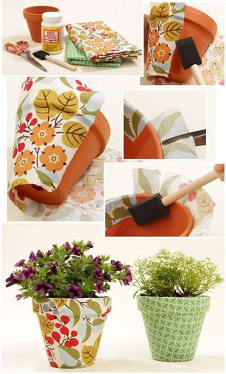 تزیین گلدان با پارچه,آموزش تصویری تزیین گلدان