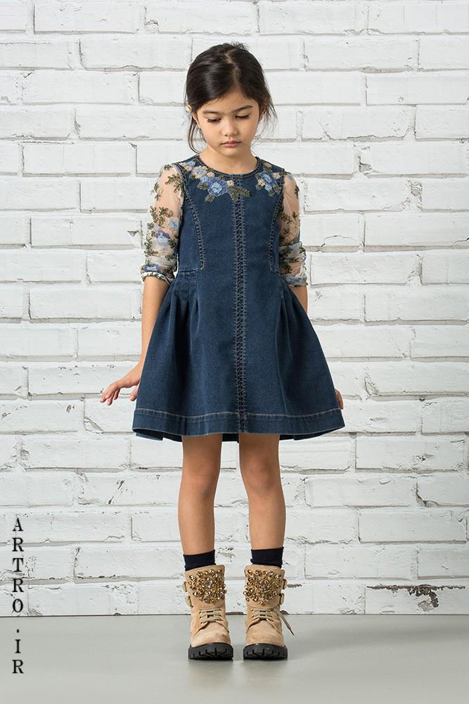 پیراهن لی دخترانه با استین تور