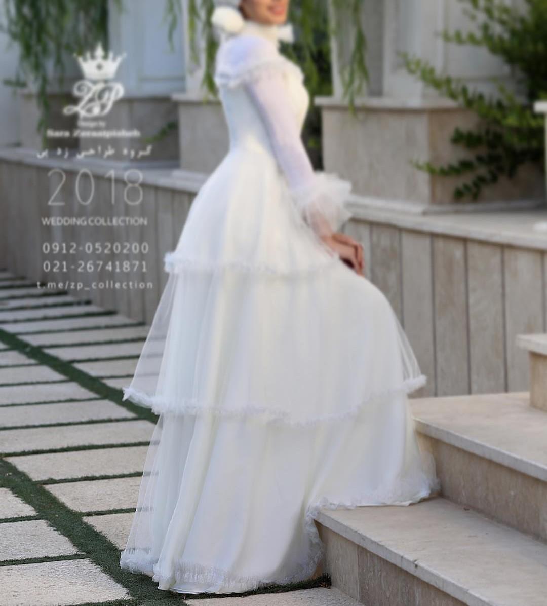 مدل لباس عروس ایرانی استین دار
