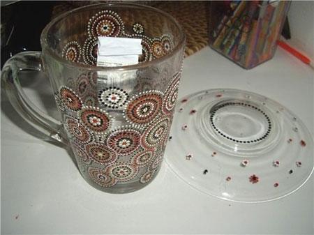 مدل ظروف نقطه ای, تزیین ظروف با نقطه