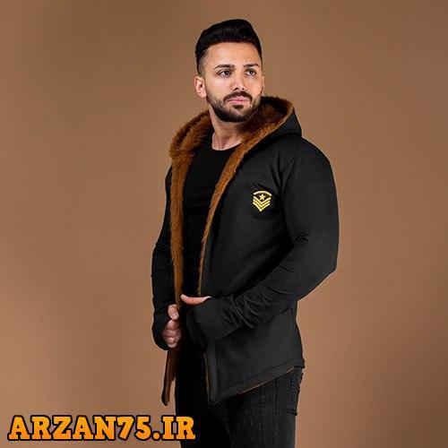 خرید شنل خزدار مردانه مدل Alvin رنگ مشکی