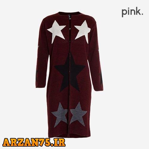 خرید مانتو بافت زنانه مدل Pink طرح ستاره