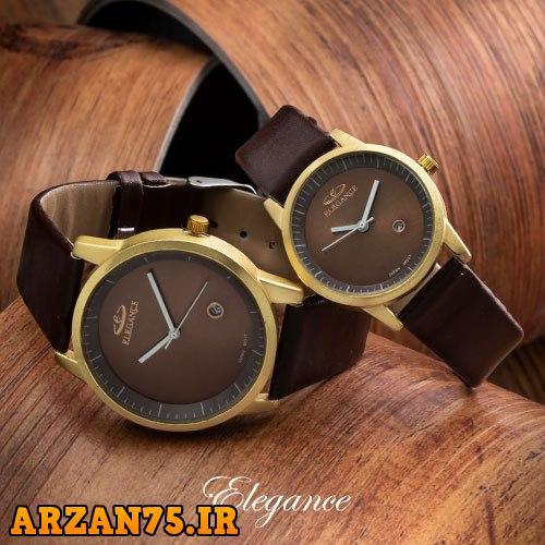 خرید ست ساعت مردانه و زنانه Elegance قهوه ای