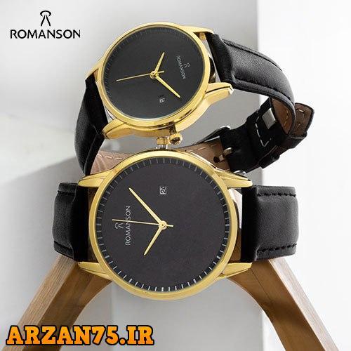 ست ساعت زوجی مدل Romanson مشکی طلایی,ست ساعت زوجی مدل رومانسون,ست ساعت عروس و داماد مدل رومانسون,ست ساعت مردانه و زمانه