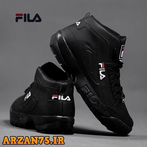 خرید کفش ساقدار مردانه مدل Fila تمام مشکی
