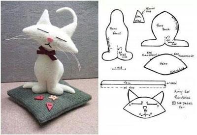 الگو عروسک نمدی گربه