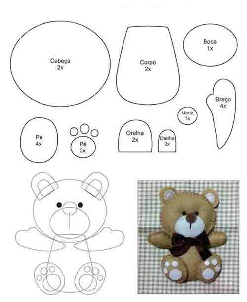 الگو عروسک نمدی خرس