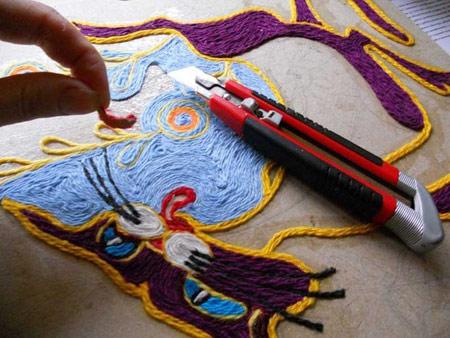 نحوه ساخت تابلو با کاموا, درست کردن تابلو با کاموا