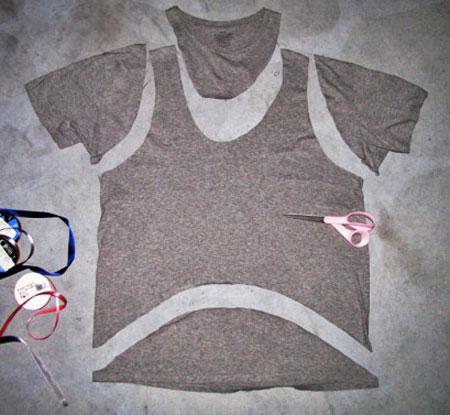 نحوه دوخت تاپ, تبدیل تی شرت به تاپ
