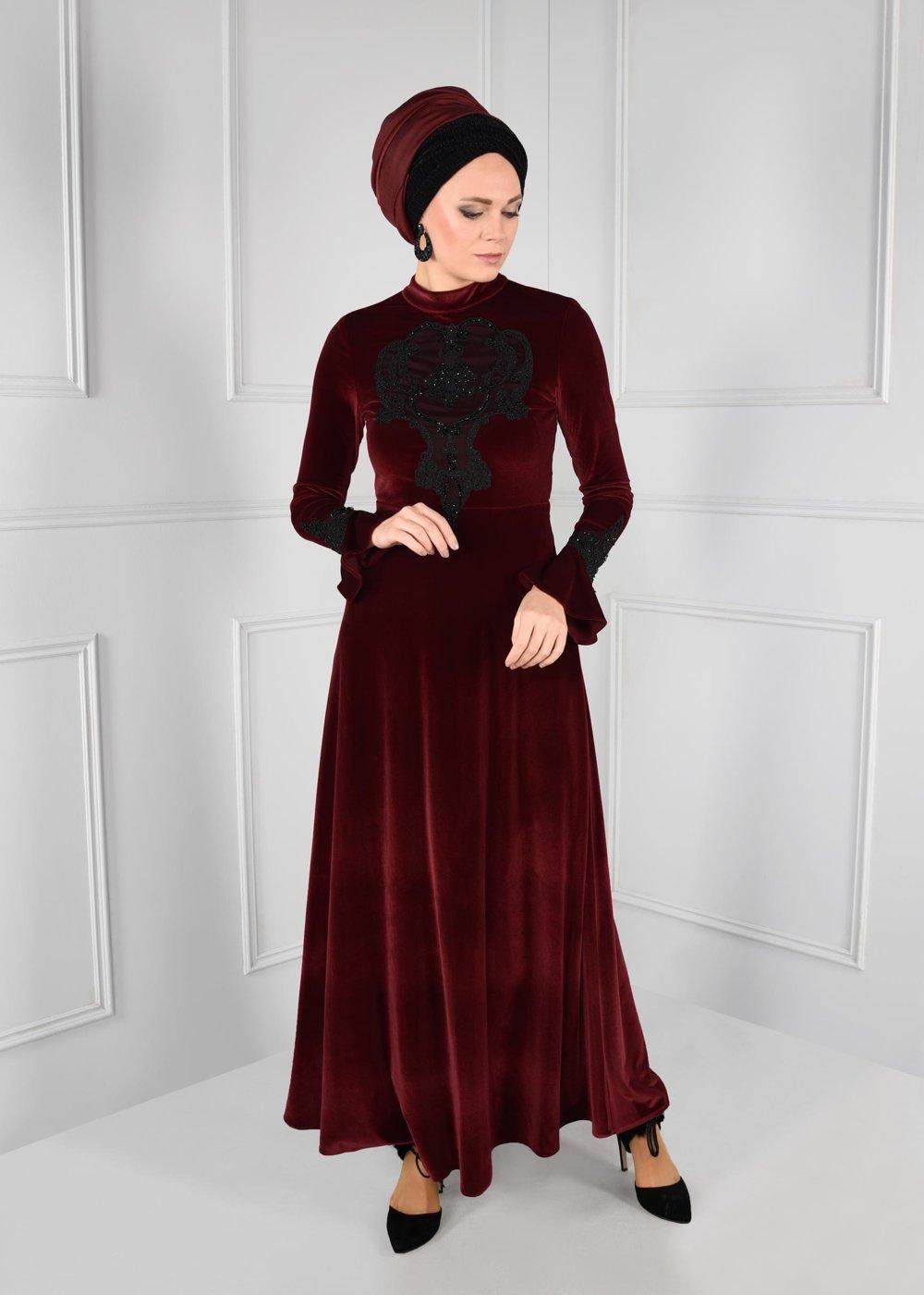 مدل لباس مجلسی بلند مخمل11