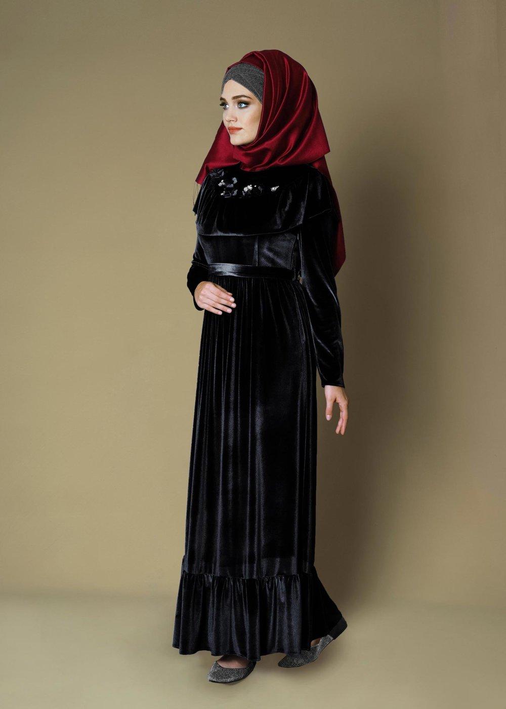 مدل لباس مجلسی بلند مخمل10