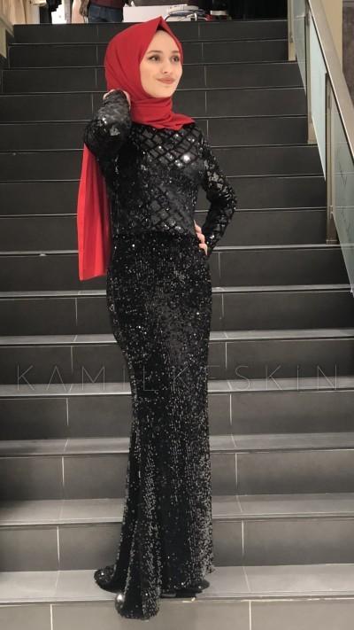 مدل لباس مجلسی بلند مخمل8