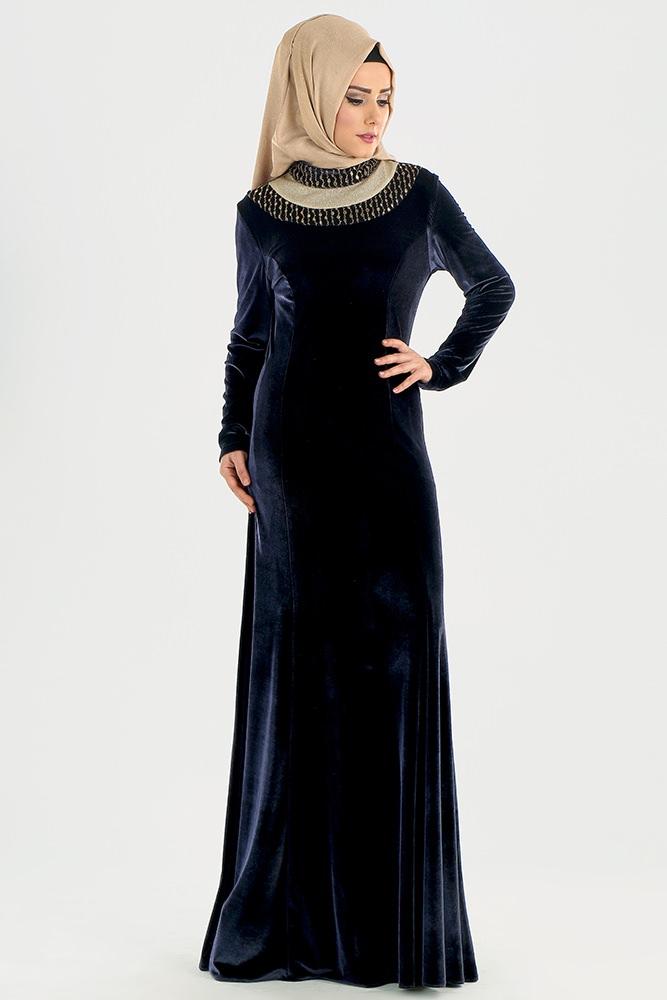 مدل لباس مجلسی بلند مخمل5