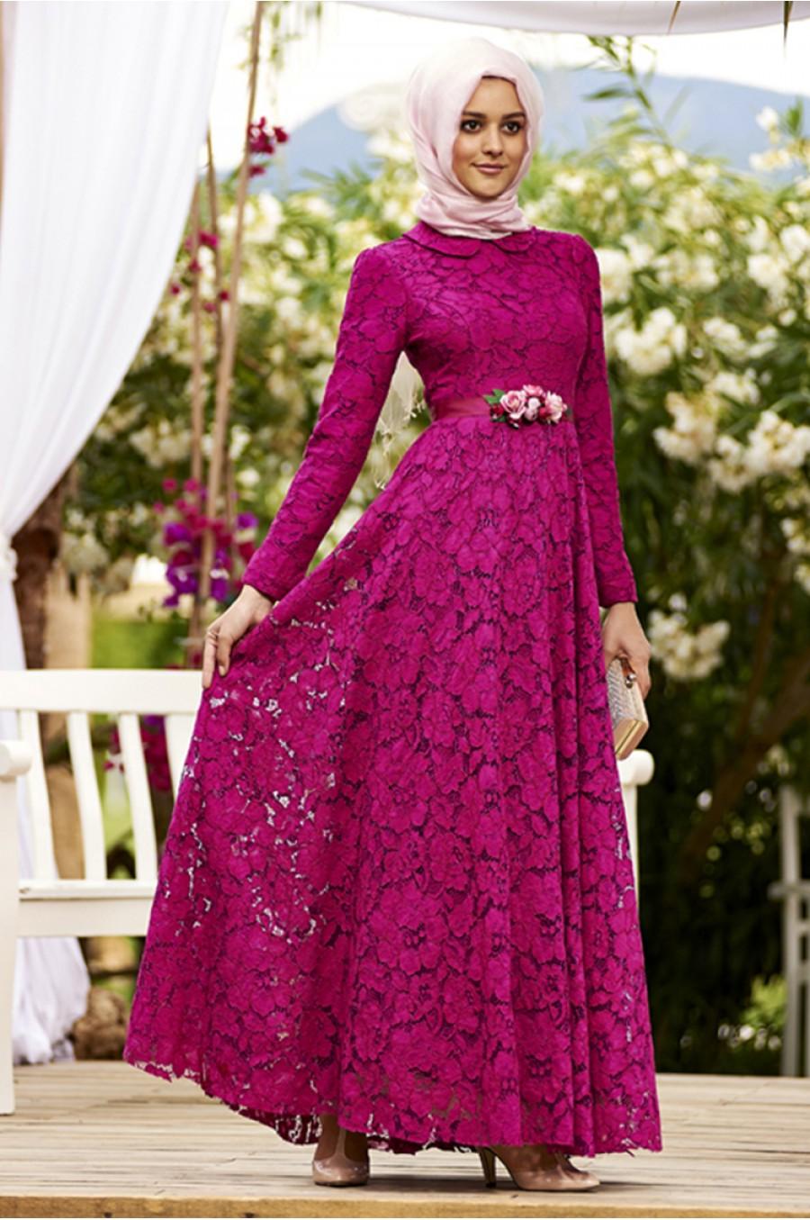 مدل لباس مجلسی گیپور آستین دار