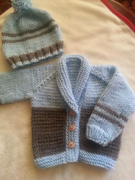 انواع مدلهای لباس بافتنی نوزاد پسر - ست ژاکت و کلاه نوزادی