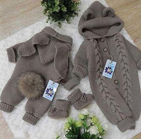 انواع مدلهای لباس بافتنی نوزاد پسر - سرهمی بافتنی نوزادی با پاپوش