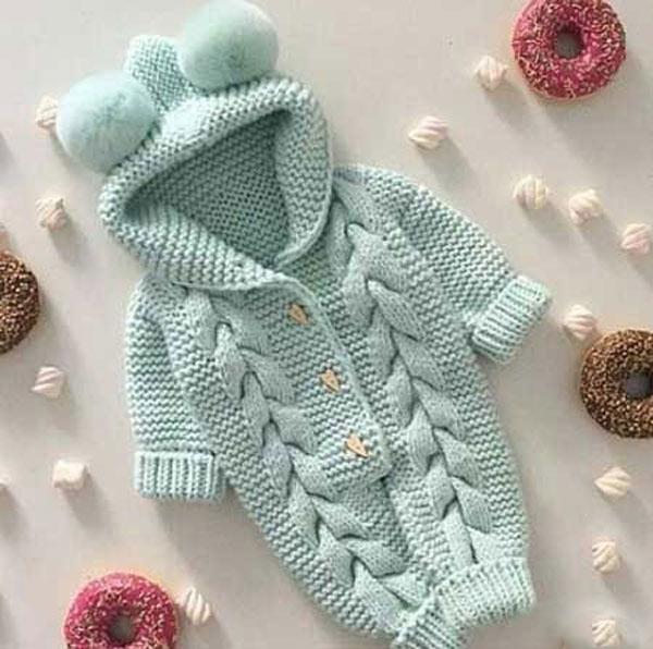 انواع مدلهای لباس بافتنی نوزاد پسر - سرهمی کلاه دار