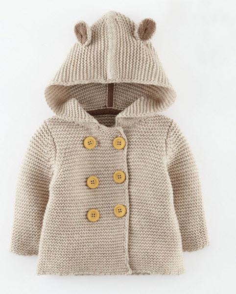 انواع مدلهای لباس بافتنی نوزاد پسر - ژاکت کلاه دار