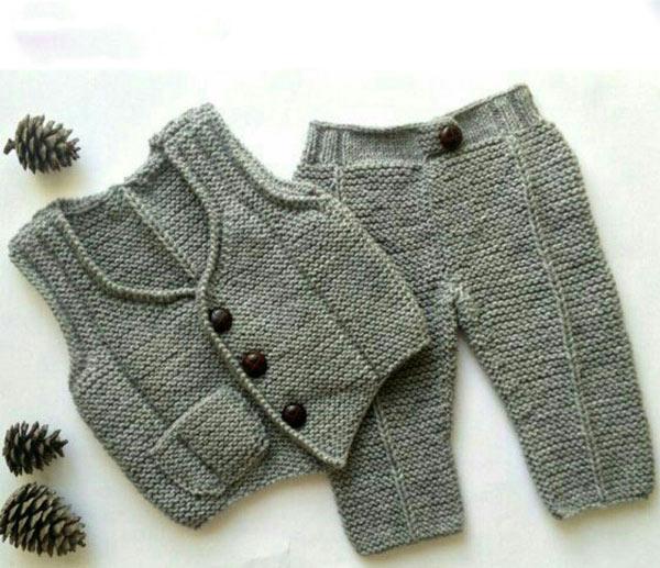 انواع مدلهای لباس بافتنی نوزاد پسر - ست جلیقه و شلوار نوزادی