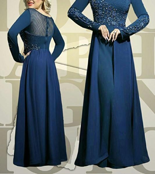 مدل لباس مجلسی بلند با پارچه کرپ