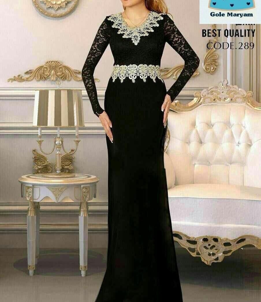مدل لباس مجلسی بلند با پارچه کرپ کش