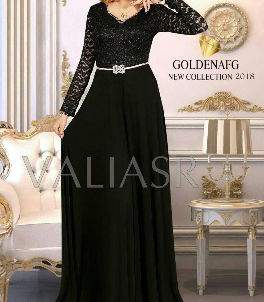 مدل لباس مجلسی بلند با پارچه کرپ و گیپور