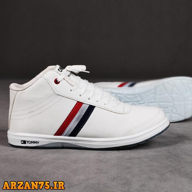 کفش مردانه ساق دار مدل Tommy رنگ سفید,کفش ساقدار مردانه رنگ سفید,کفش مردانه سفید رنگ
