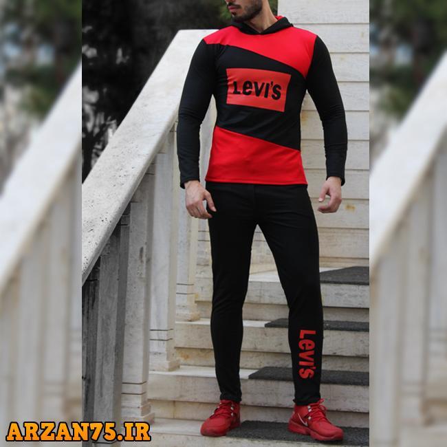 ست سویشرت و شلوار مردانه مدل levis,مدل جدید ست سویشرت و شلوار,ست مردانه قرمز رنگ