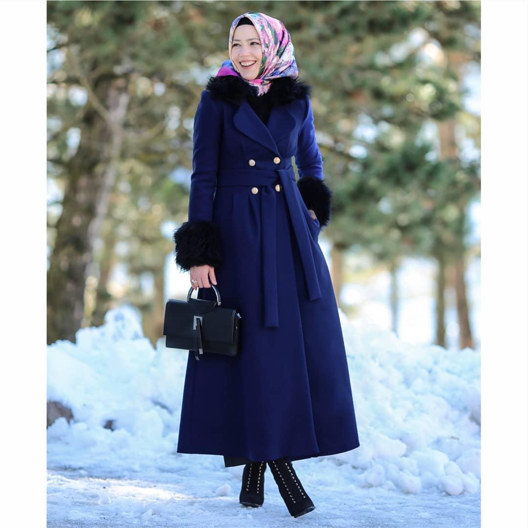 مدل مانتوی بلند زمستانه