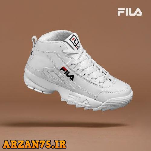 کفش ساقدار زنانه Fila تمام سفید,کفش ساقدار زنانه سفید,کفش دخترانه,مدل جدید کفش زنانه فیلا